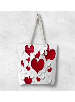 Else Halı Kırmızı Kalpler 3D Desenli Fermuarlı Kumaş Omuz Çantası
